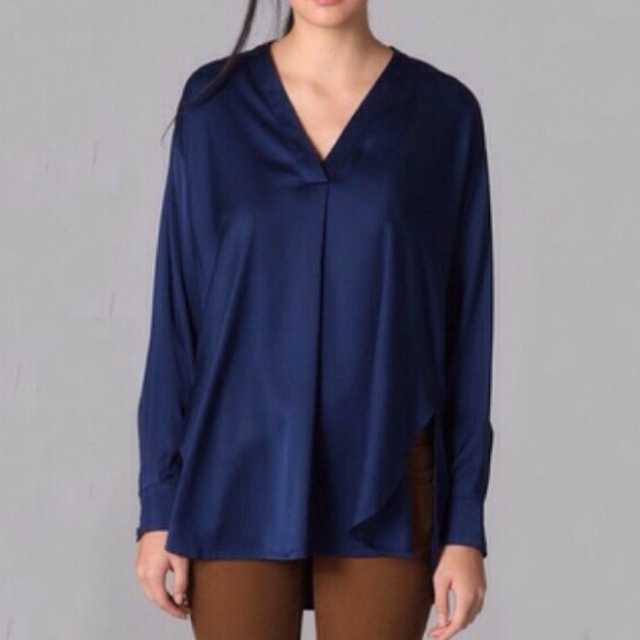 a5ae791f851387 Vince Tops | Navy Blue Silk Top | Poshmark