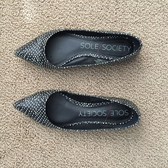 Sole Society Shoes - Black and white printed flats.