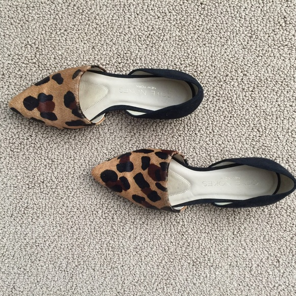 Coye Nokes Shoes - Calf hair leopard print d'orsay flats.