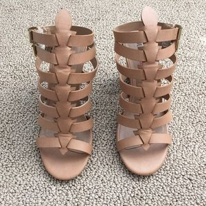 JustFab Shoes - Tan gladiator heel sandals.