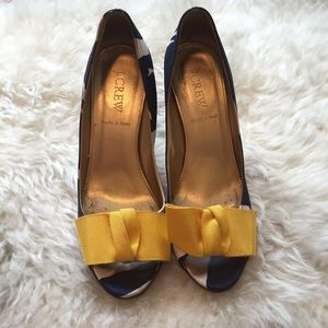 J. Crew Shoes - Silk navy print peep toe heels.
