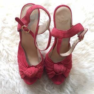 Topshop Shoes - Red peep toe platform heels.