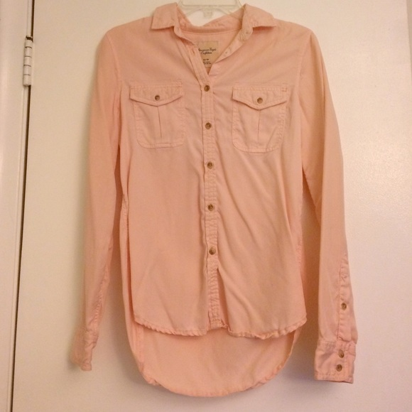 56% off American Eagle Outfitters Tops - AE light pink button down ...