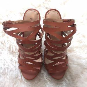 Cognac colored gladiator high heel sandals.