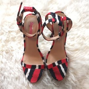 Red, black & white Python print heels.