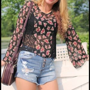 Tops - SALE! floral and lace blouse