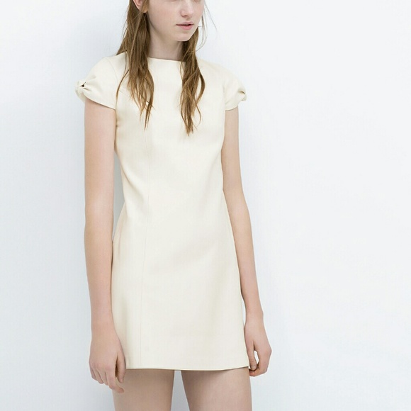 57% off Zara Dresses & Skirts - NWT Zara Faux Leather Cream Bow ...