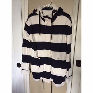 Navy & White Striped Hoodie