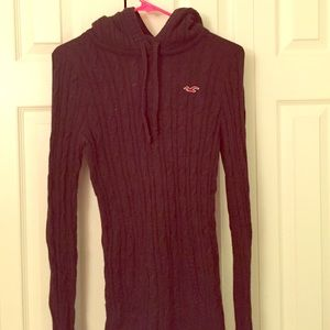 Dark Brown Hooded Hollister Sweater, size large