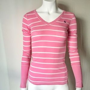 Abercrombie Pink and White Striped Long Sleeve Top