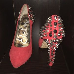 Ladies Red Sam Edelman Spiked Heels