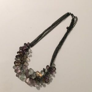Faceted bead necklace. Gunmetal grey chain.