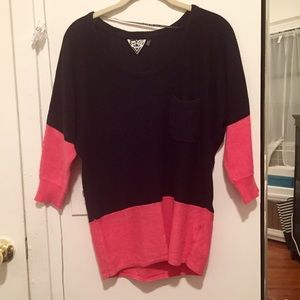 Volcom Sweaters - ❌ SOLD - Colorblock sweater (hot pink and black)