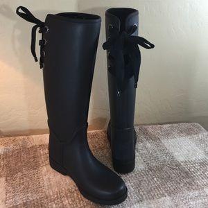 Lace Up Rain Boots Tsaa Heel