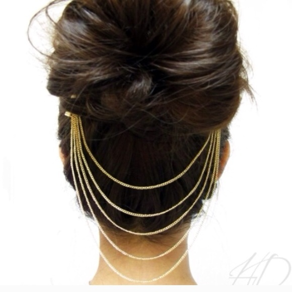 65 off accessories gold hair combs chain jewelry from