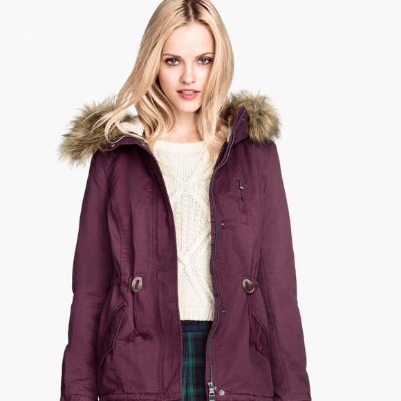 42% off H&M Jackets & Blazers - H&M burgundy parka jacket from ...