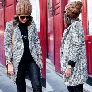 Timeless Houndstooth Stand-Collar Coat