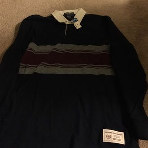 Eddie Bauer Tops - SALE - Dk navy w/ grey/Burgndy chest stripe E B