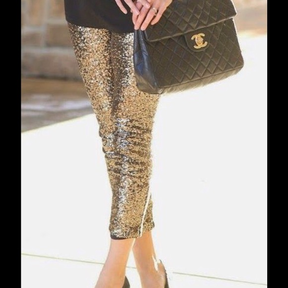 6507424c81e59 Gianni Bini Pants | Gold Sequined Leggings Small | Poshmark