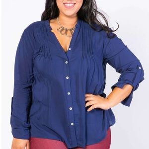 Plus size chambray navy blue top blouse pleated