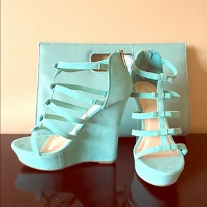 Mint green wedges with purse