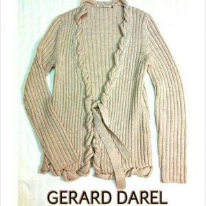 GERARD DAREL Sweaters - GERARD DAREL - WHEAT COLOR 100% WOOL TIE CARDIGAN
