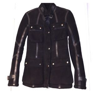 Black suede with leather detail Belstaff Coat