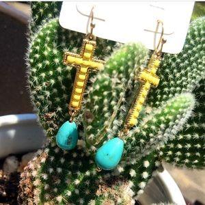 Jewelry - Cross turquoise drop earrings