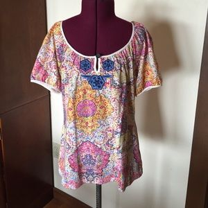 Anthropologie Tops - Anthropologie Pretty Print Embroidered Top S