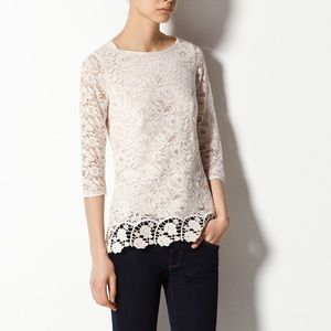 Massimo Dutti Embroidered Lace Shirt
