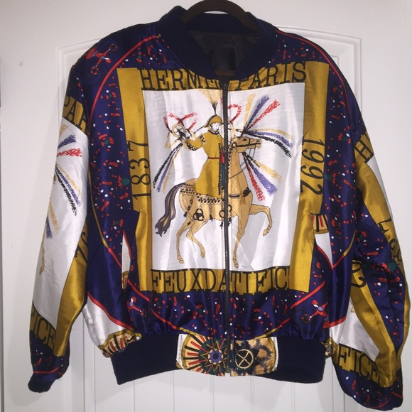 Hermes - AUTHENTIC Vintage Hermes Silk Bomber Jacket from Abby's ...