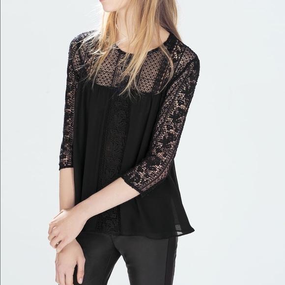 295aaa9e8c Zara Trafaluc guipure lace blouse
