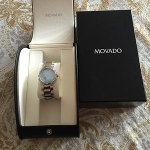 Movado Diamond Accent Stainless Steel Watch