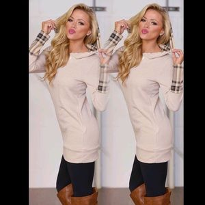 ❤️COMING SOON❤Cozy Chic Beige Plaid Hooded Tunic
