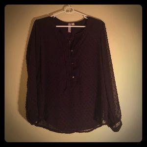 Purple Sheer Long Sleeved Blouse