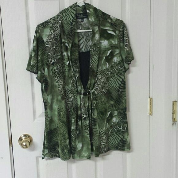 e60ee3cbfcc3 Green and Black Animal Print Blouse. M_56313b73729a66bb400090a4