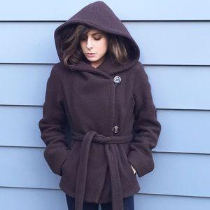 BCBG MaxAzria Hooded Wrap Coat