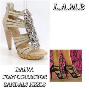 L.A.M.B. Shoes - L.A.M.B. DALVA Silver Coin Leather Sandals Heels