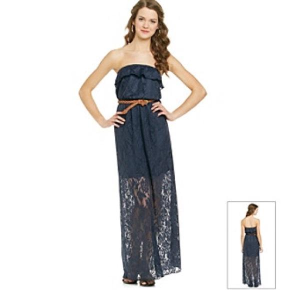 Trixxi Navy Strapless Crochet Maxi Dress Women s. M 56315c1c6802784f7a000681 923f661a1