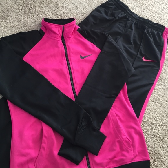 NWT black and pink Nike track suit
