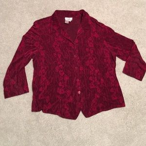 Cold water Creek Jacquard red top