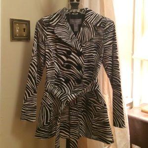 PETITE Zebra Print Trench Coat