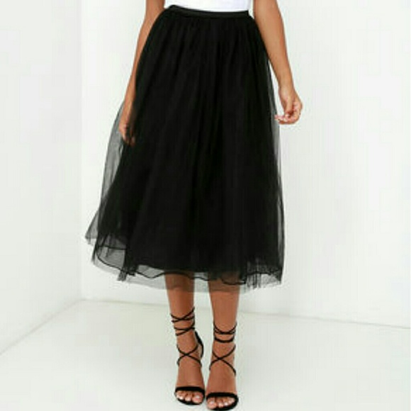 black tulle midi skirt from angie s closet on