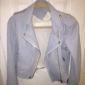 Iro leather ashville leather jacket light blue