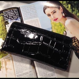 Handbags - Faux Croc Patent Leather Wallet