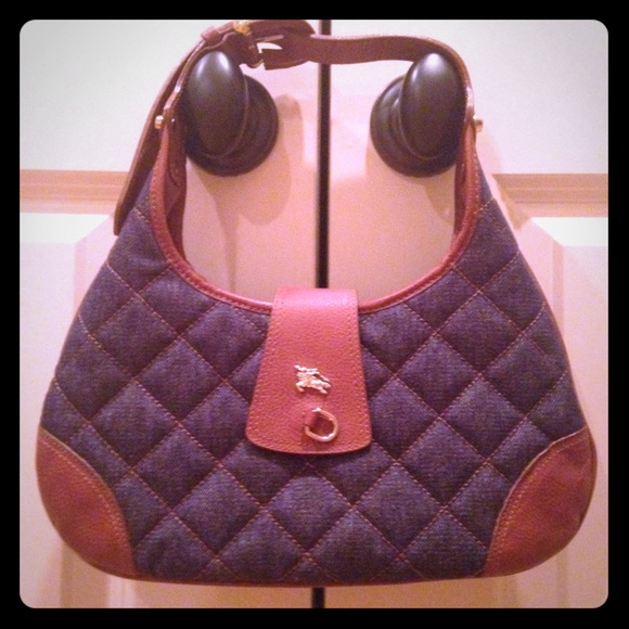 c1022d452fb0 Burberry denim and leather small Brooke hobo NWT