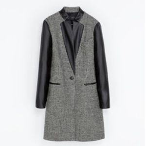 Zara Tweed Coat with Leather Details