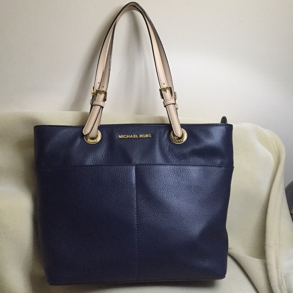 1221513f3009d7 Michael Kors Bags | Michaelkors Bedford Leather Tote Navy Blue Authe ...