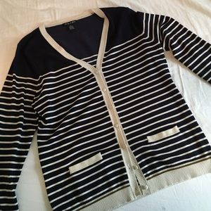 Navy and white striped cardigan
