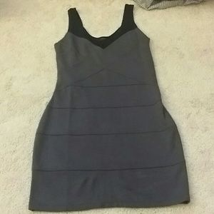 Express Gray body con dress